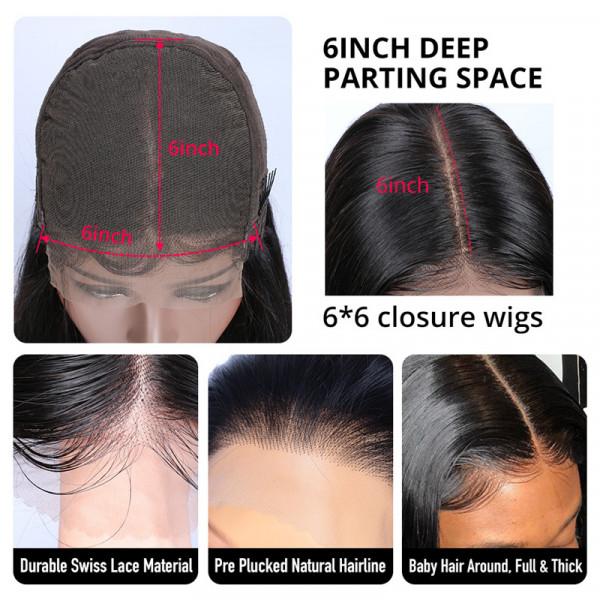 Long Human Hair Wigs 6*6 Closure Wigs online