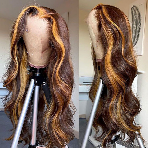 brown highlight wig