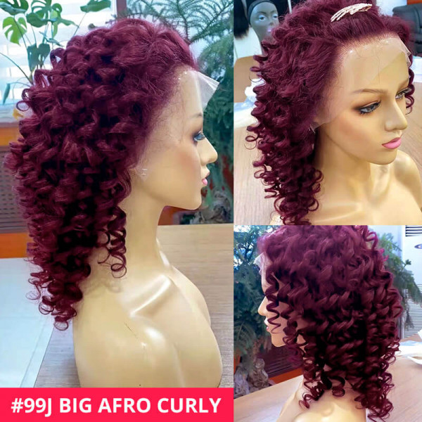 burgundy curly lace front wigs