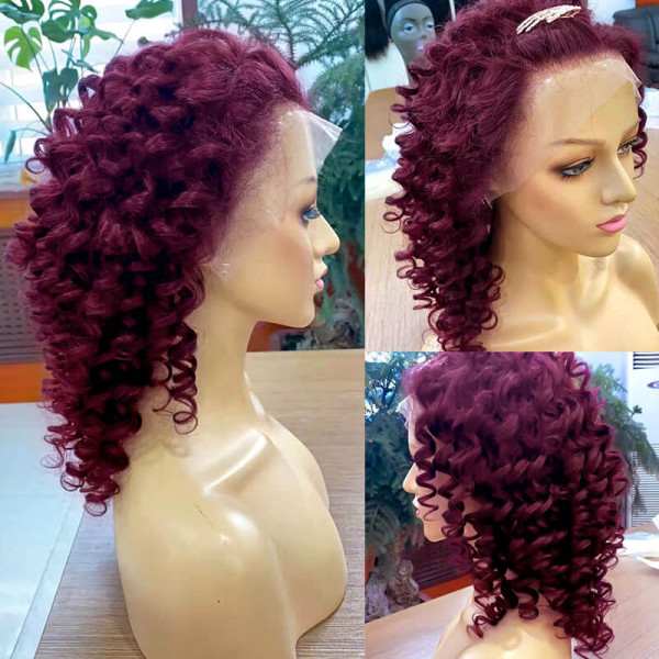 Burgundy Curly Lace Front Wig