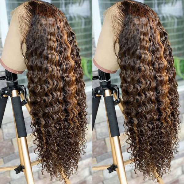 Deep Wave Highlight Lace Front Wigs