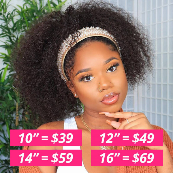 Curly Bob Wigs With Headbands Attached