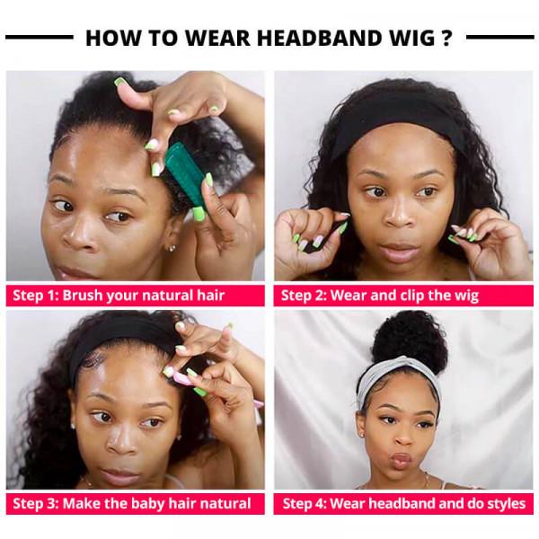 Human Hair Head band Wigs