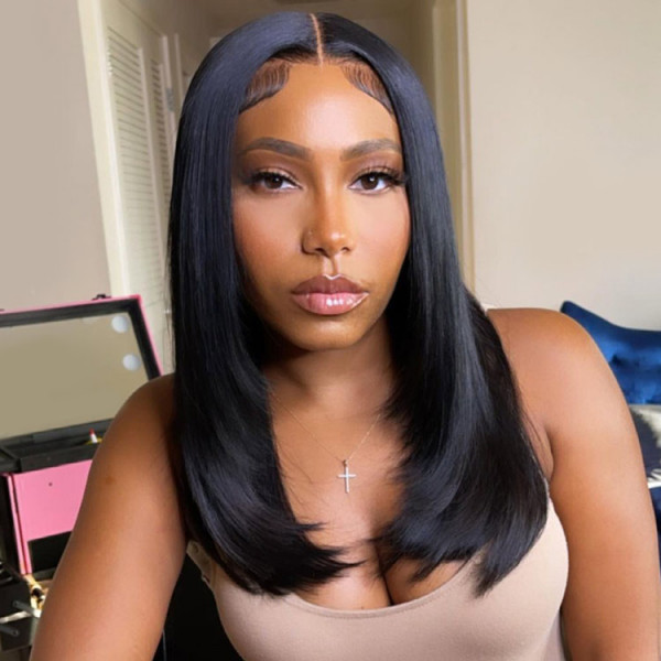 layered straight wig