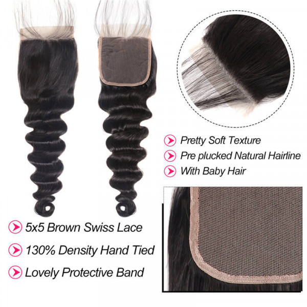 5*5 Lace Closure Loose Deep