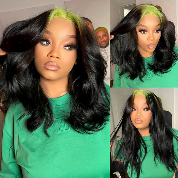 black and green wig
