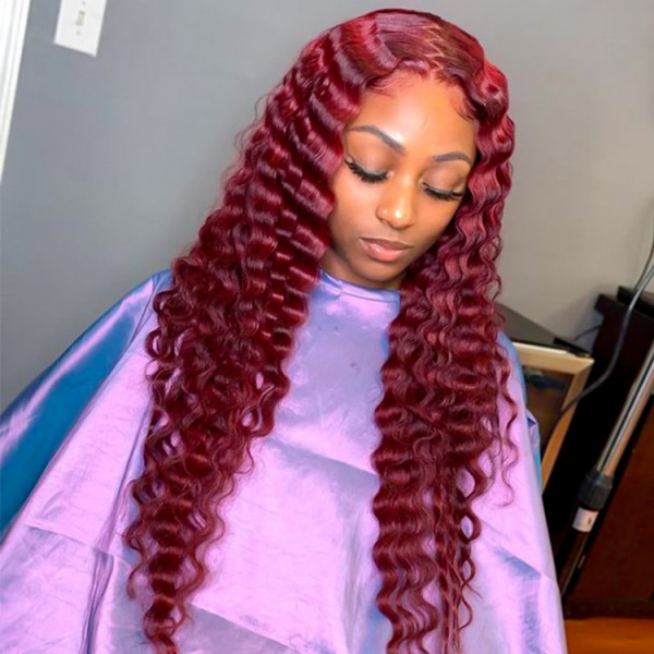 Red Crimped Lace Front Wig