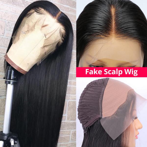 Straight Fake Scalp Wigs