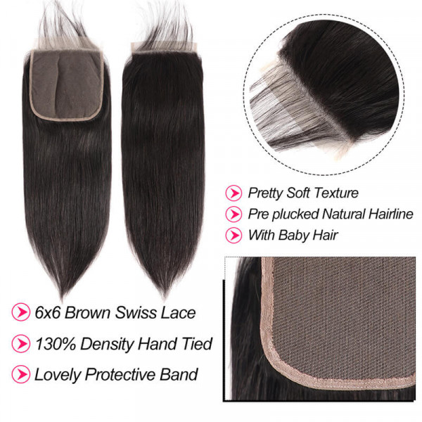 Virgin Straight Hair 6*6 Lace Closure