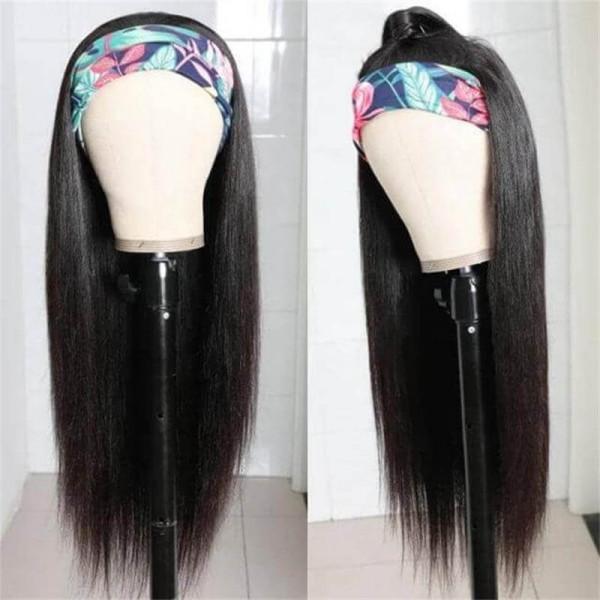 Straight Human Hair Head Band Wigs