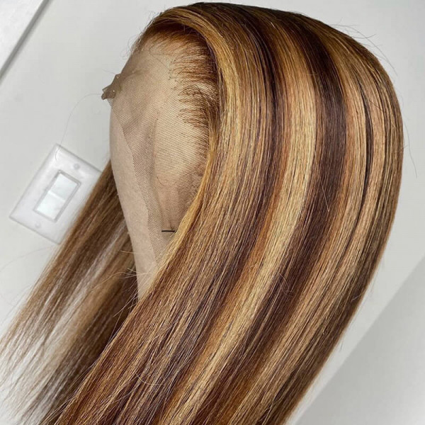 Brown Lace Front Wig With Blonde Highlights