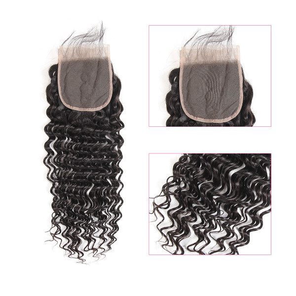 4*4 Lace Closures and Deep Wave Brazilian Hair Lace Closure
