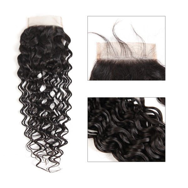 Natural Wave 4*4 Closures For Weave Water Wave Virgin Hair Wet And Wavy