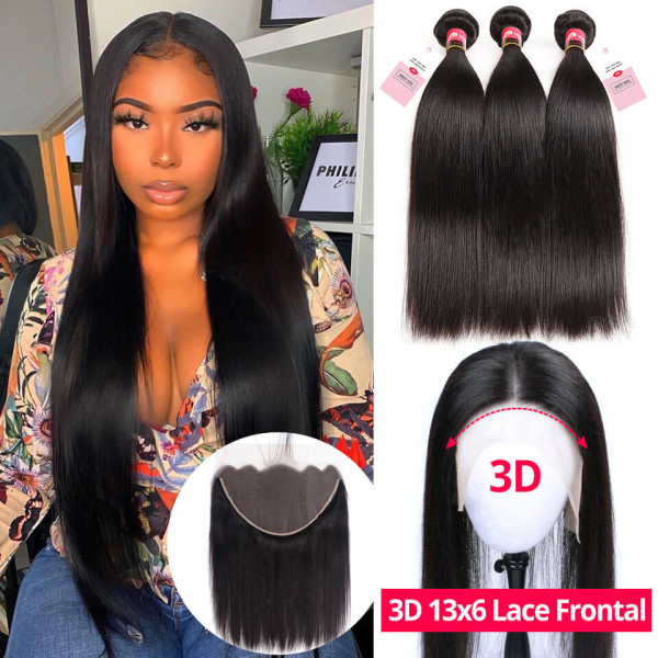 Brazilian Straight Human Virgin Hair 3 Bundles With 13*6 Lace Frontal