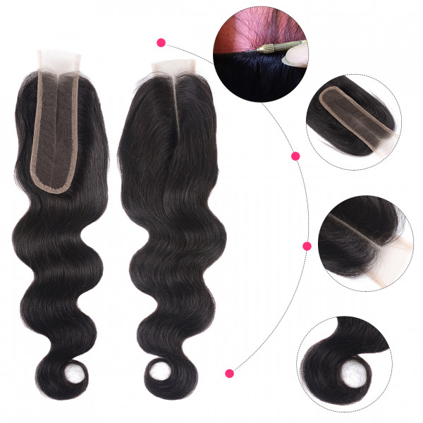 Body Wave Kim K 2x6 Inch Lace Closure With Baby Hair Middle Part Lace Closure