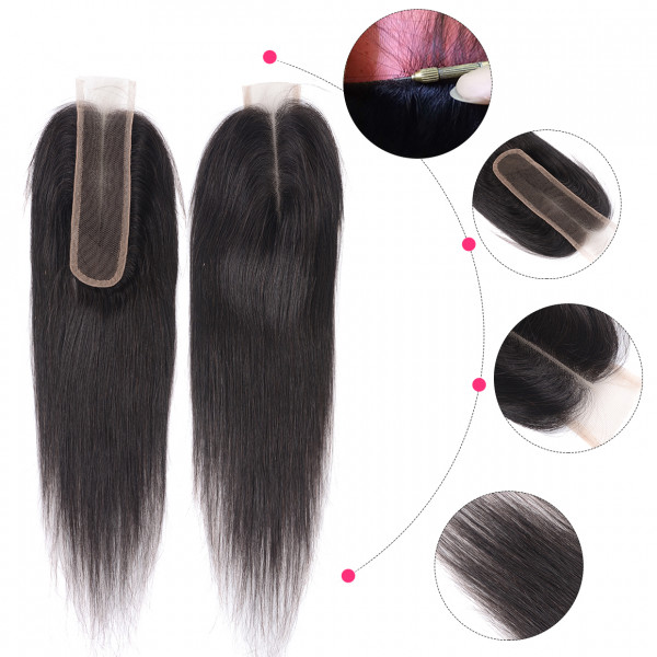 New Arrival 2*6 Lace Closure Virgin Straight Hair Brazilian Hair Closures Human Hair Swiss Lace Closure 10-20 Inch