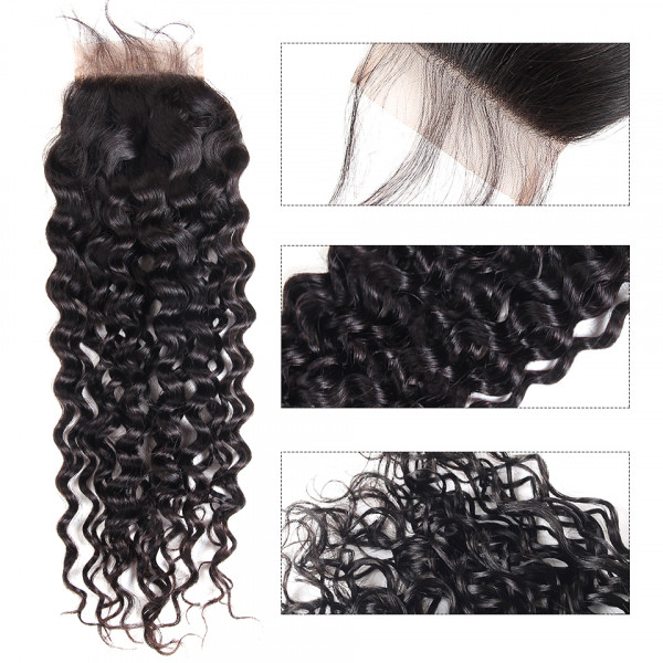 Water Wave 5x5 Lace Closure Peruvian Hair Closure Piece Natural Wave Swiss Lace Closure