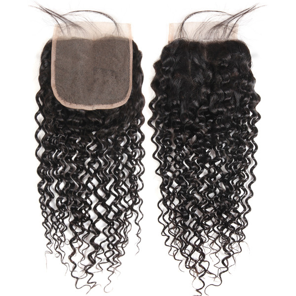 Curly Hair 5x5 Inch Lace Closure Brazilian Curly Closure With Baby Hair Swiss Lace Closure