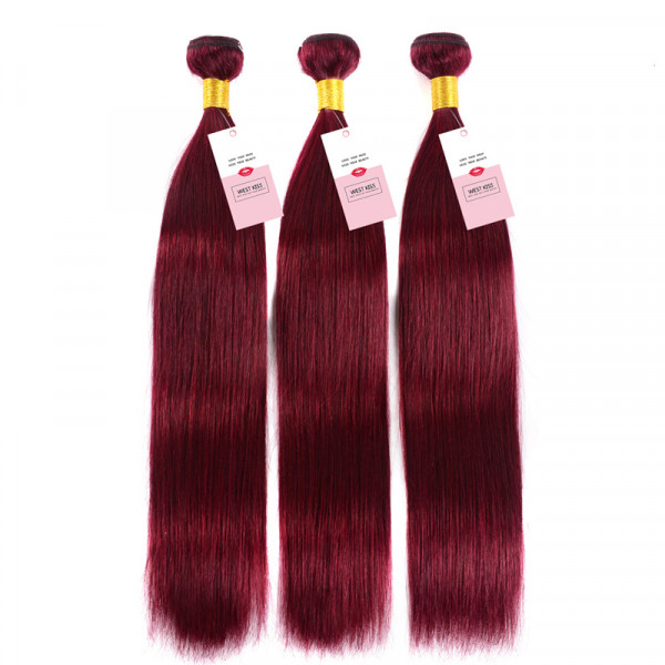 99J Wine Red Virgin Straight Hair Burgundy Color 3PCS/Packet