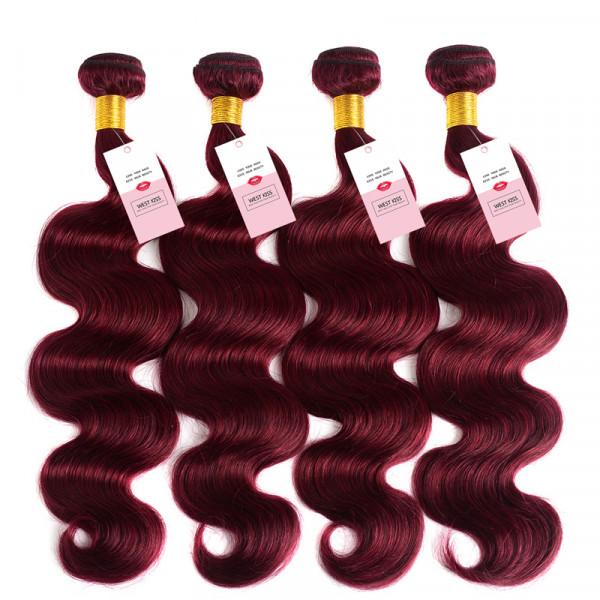 Pure Color 99J Burgundy Body Wave Human Hair Weaves 4 Bundles/Lot