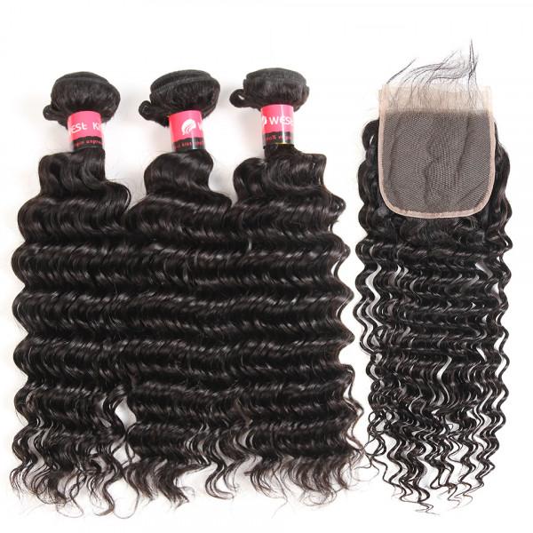 5x5 Swiss Lace Closure And Deep Wave 3 Bundles Brazilian Human Hair