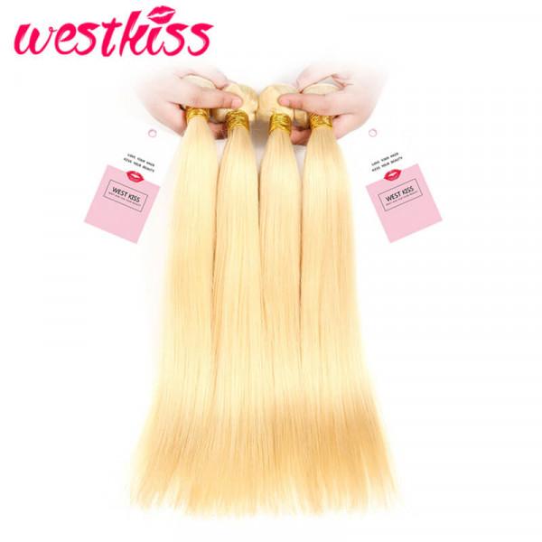 Honey Blonde Straight Brazilian Human Hair Weave 4 Bundles