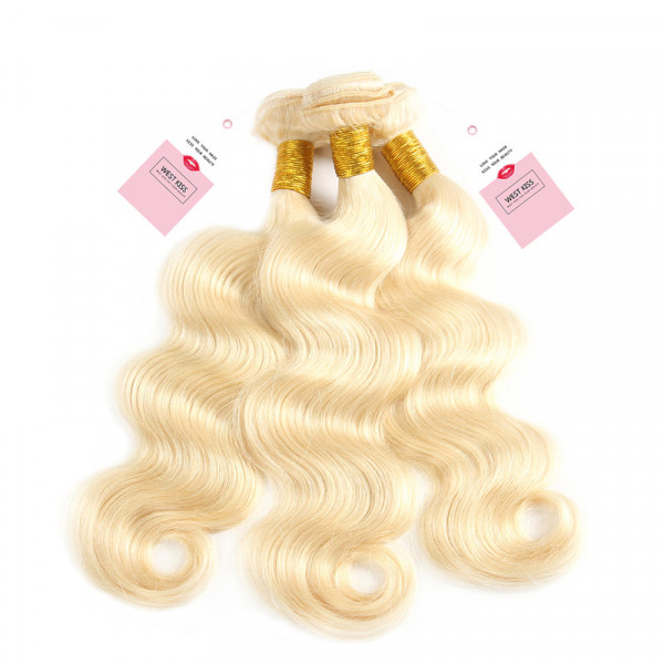 Color 613 Body Wave 3 Bundles Blonde Human Virgin Hair Weaves
