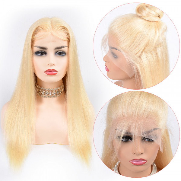 Full Lace Wigs 4/613 / 613 Colored Hair Lace Wigs 150% Density Blonde Straight Virgin Hair Ombre Wig