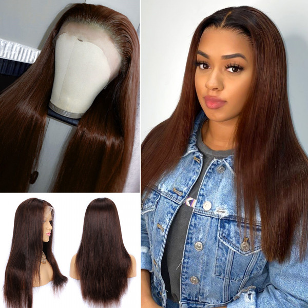 #4 #1B/4 Colored Wigs Straight Lace Front Wigs Real Human Hair Wigs