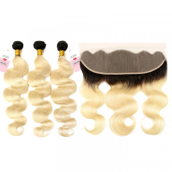 Ombre Hair Color 1B/613 Body Wave Weave 3 Bundles With 13*4 Lace Frontal