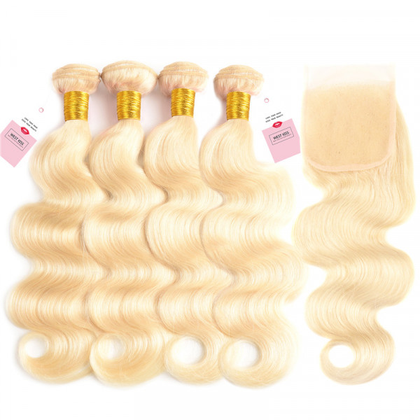 #613 Blonde Hair Body Wave 4*4 Lace Closure And 4 Bundles Human Hair Bundles