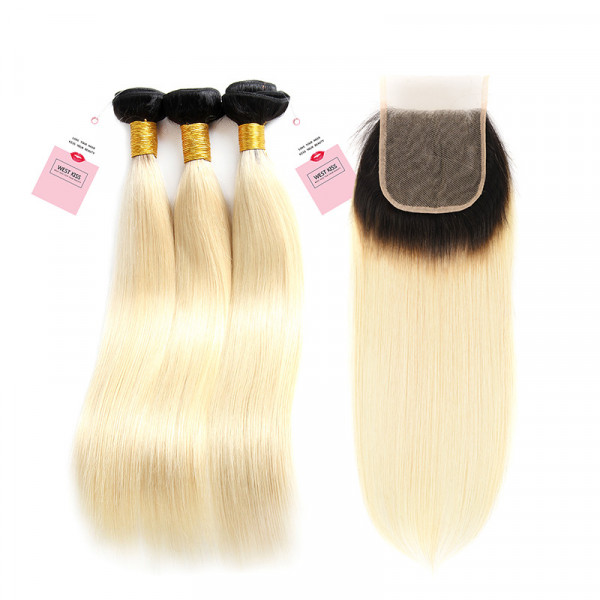 Ombre Hair Color 1B/613 Straight Virgin Hair 3 Bundles With 4*4 Lace Closure