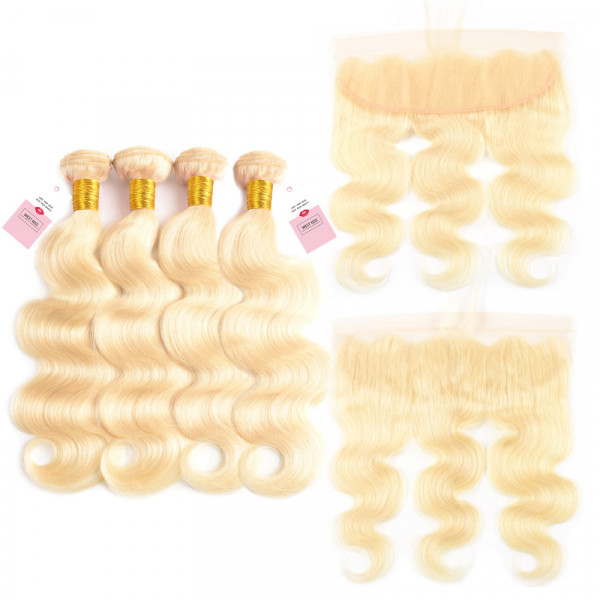Color 613 13*4 Lace Frontal And Body Wave 4 Bundles Blonde Virgin Hair