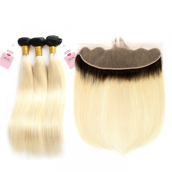 3 PCS 1B/613 Color Brazilian Straight Hair Weave With 13*4 Lace Frontal