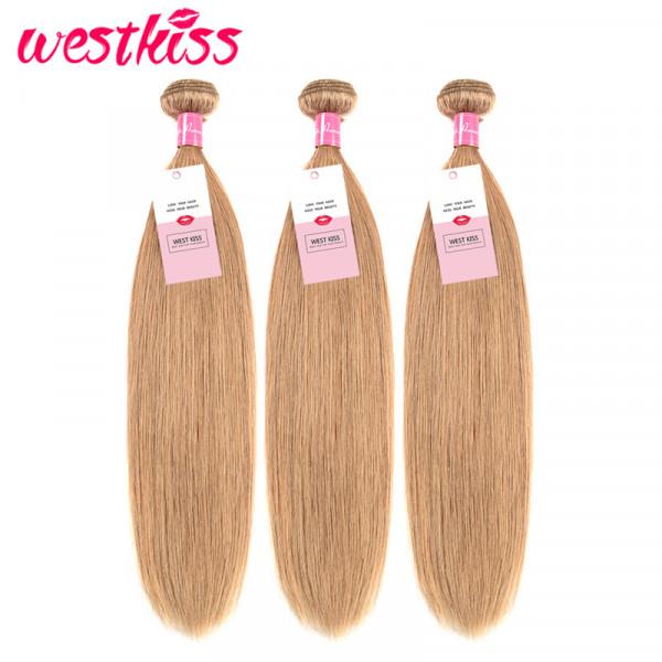 3 Bundles #27 Honey Blonde Brazilian Straight Human Virgin Hair Weaves