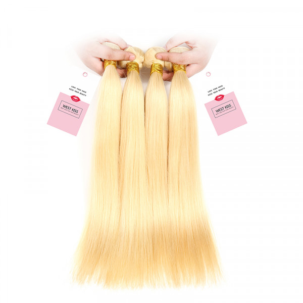 613 Blonde Virgin Hair Straight 4 Bundles Honey Blonde Peruvian Straight Hair