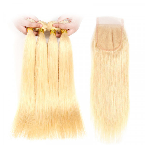 Blonde Hair Color 613 Straight Virgin Hair 4 PCS With 4*4 Lace Closure