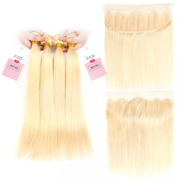 Brazilian #613 Straight Virgin Hair 4 Bundles with 13*4 Frontal Closure Blonde Hair