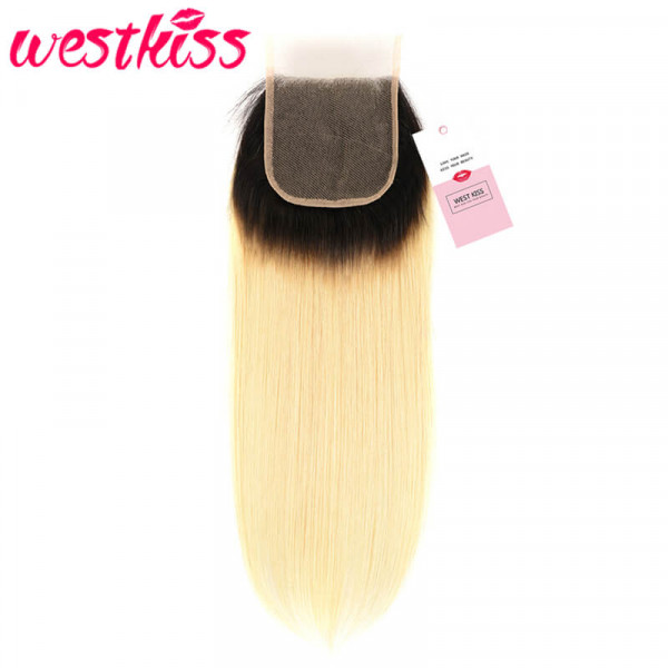 Ombre Straight Hair Color 1B/613 Straight 4*4 Lace Closure Free Part