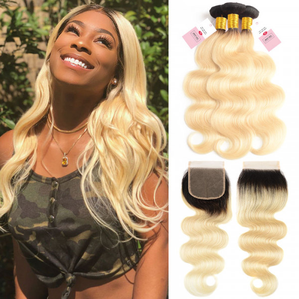1B/613 Ombre Human Virgin Hair Body Wave Hair 3 Bundes With 4*4 Lace Closure