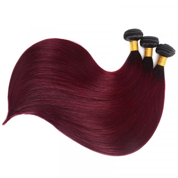 1B/Burgundy Color Ombre Straight Human Virgin Hair Bundles 3 PCS/Lot