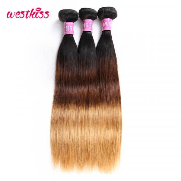 Ombre Brazilian Hair Straight 3 PCS Weave Bundles 1B/4/27 Color Good Quality