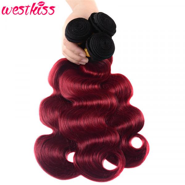 3 Bundles Ombre Hair Color 1B/Burgundy Brazilian Human Hair Body Wave Weaves