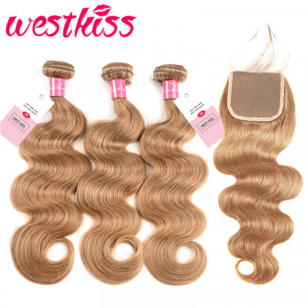 #27 Honey Blonde Brazilian Virgin Body Wave Weave 3 Bundles Hair With 4*4 Lace Closure