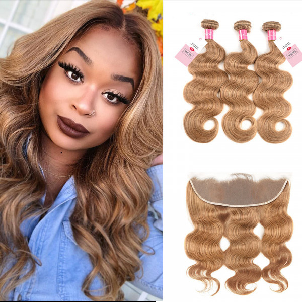 Honey Blonde 27# Brazilian Human Hair Body Wave Weave 3 Bundles With 13*4 Lace Frontal