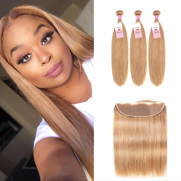 Color 27 Honey Blonde Human Virgin Straight Hair 3 Bundles And 13*4 Lace Frontal