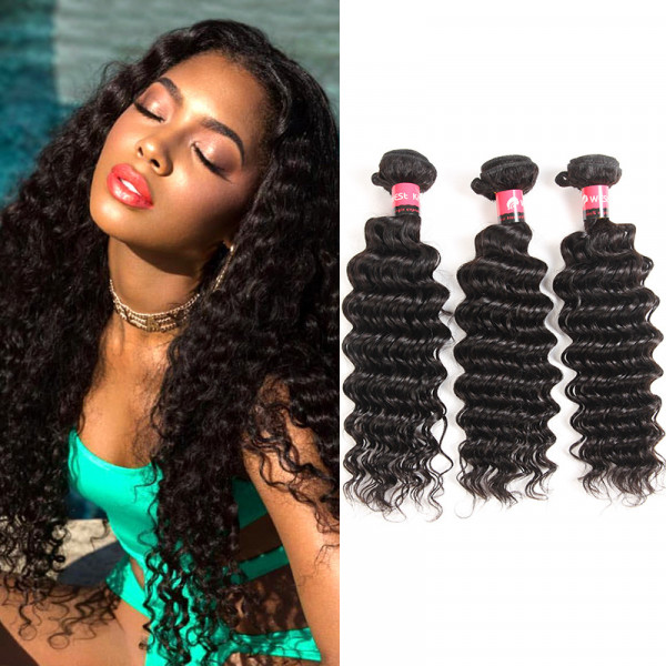 100% Human Hair Products Deep Wave 3pcs Brazilian Virgin Hair Weaving