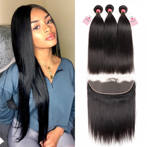 Brazilian Straight Bundles 3 PCS With Hair Frontal 13*4 Brazilian Lace Frontal Closure