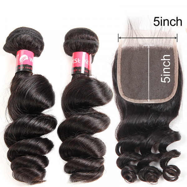 Loose Wave Weave 5*5 Lace Closure And 2 Bundles Cheap Human Hair Bundles