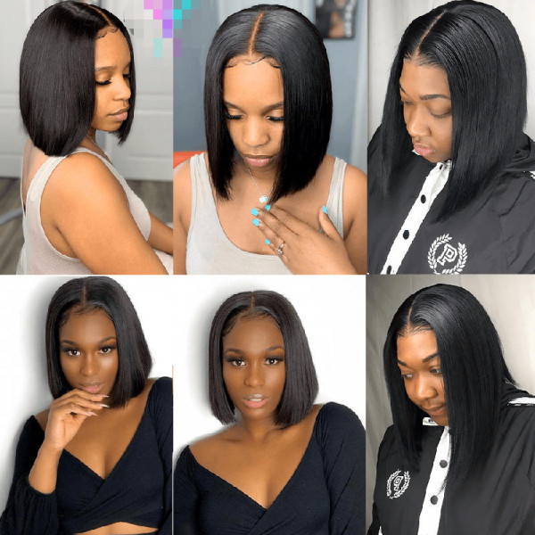 4*4 Bob Wigs Lace Front Short Wigs Straight Body Wave Curly Hair Bob Wigs